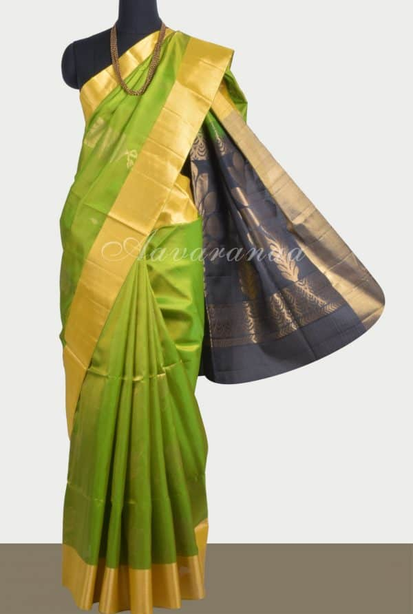 Neon green soft silk saree with brocade blouse-0