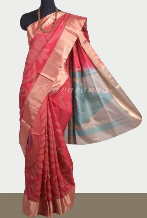 Red soft silk saree with thread weaving-0