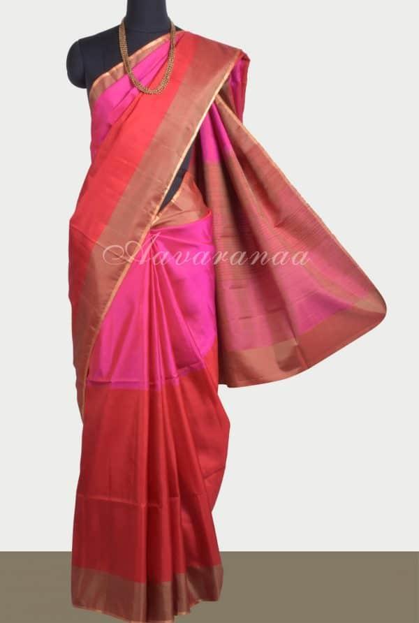 Pink red half and half soft silk saree-0