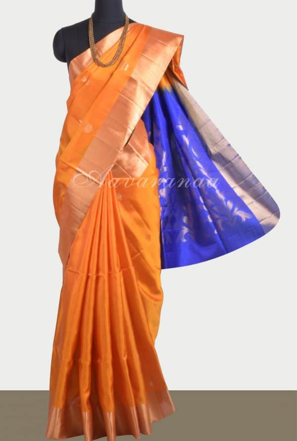 Orange soft silk saree with brocade blouse-0