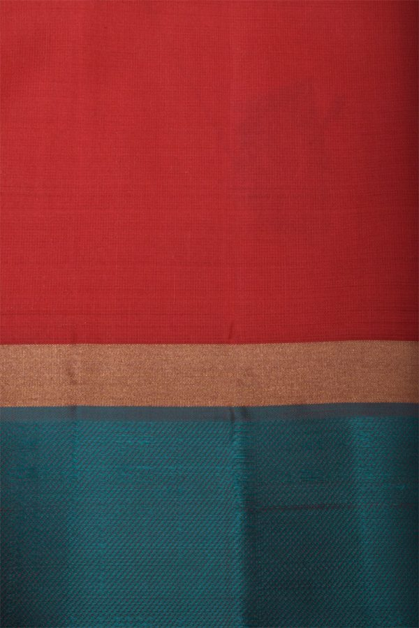 Red soft silk saree with blue satin border-13060