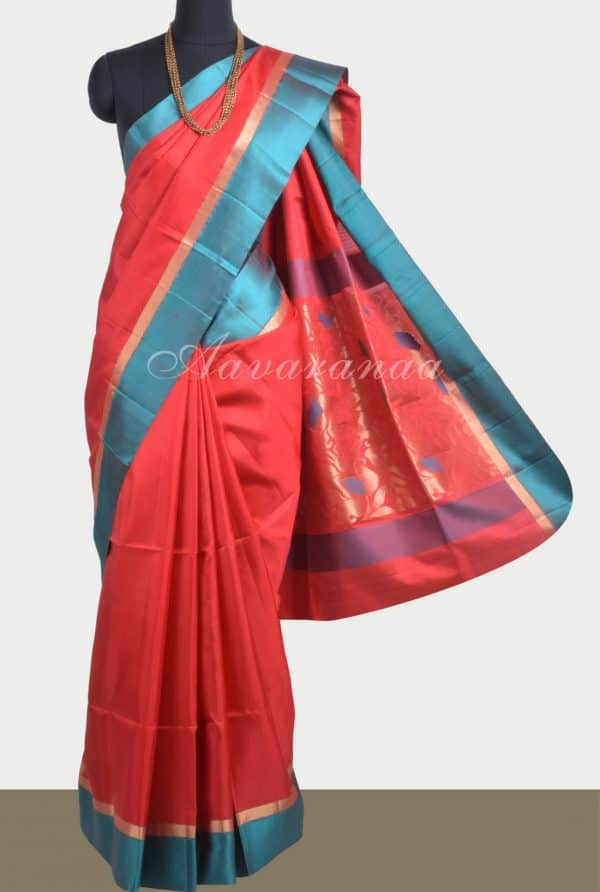 Red soft silk saree with blue satin border-0