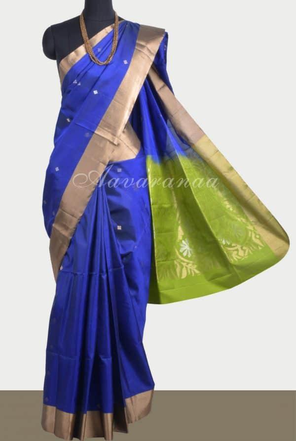 Royal blue soft silk saree-0