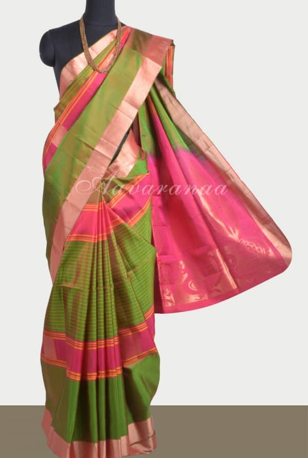 Green pink multi stripes silk saree-0