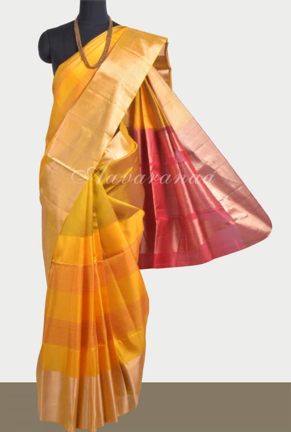 Mustard yellowstripes silk saree-0