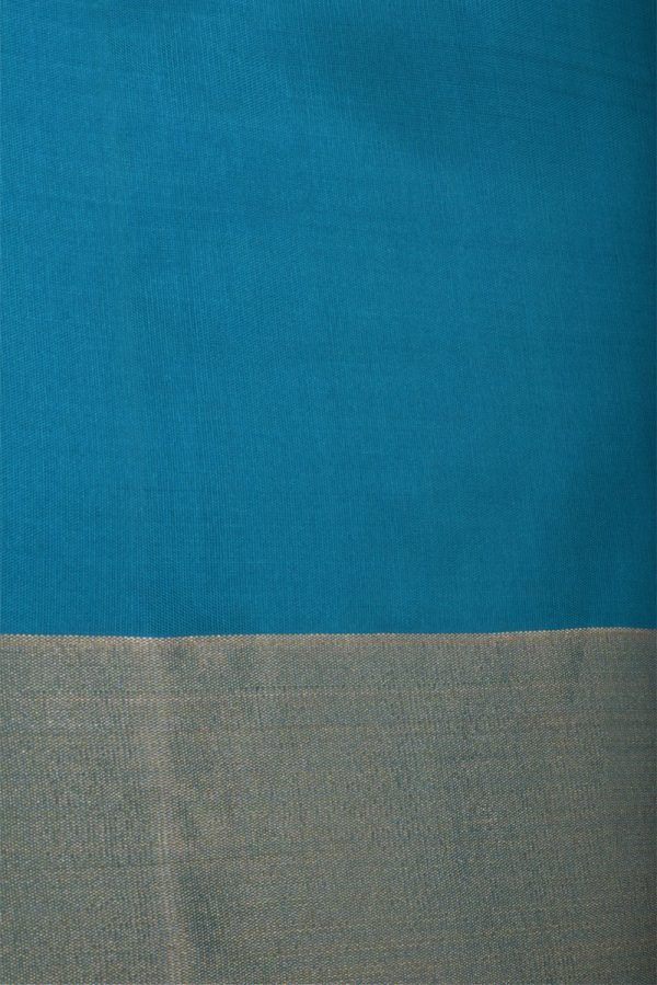Royal blue self stripes saree with turquoise pallu-13131