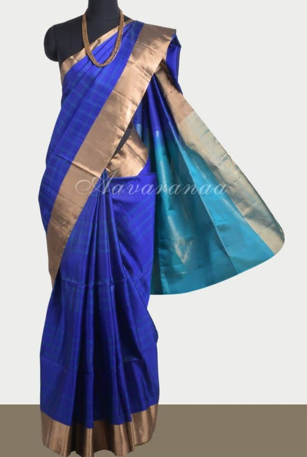 Royal blue self stripes saree with turquoise pallu-0