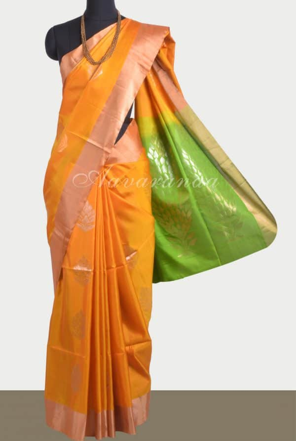 Mustard soft silk saree-0