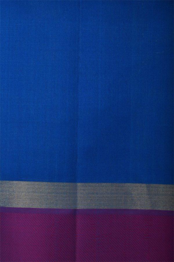 Blue soft silk saree with purple border-12978