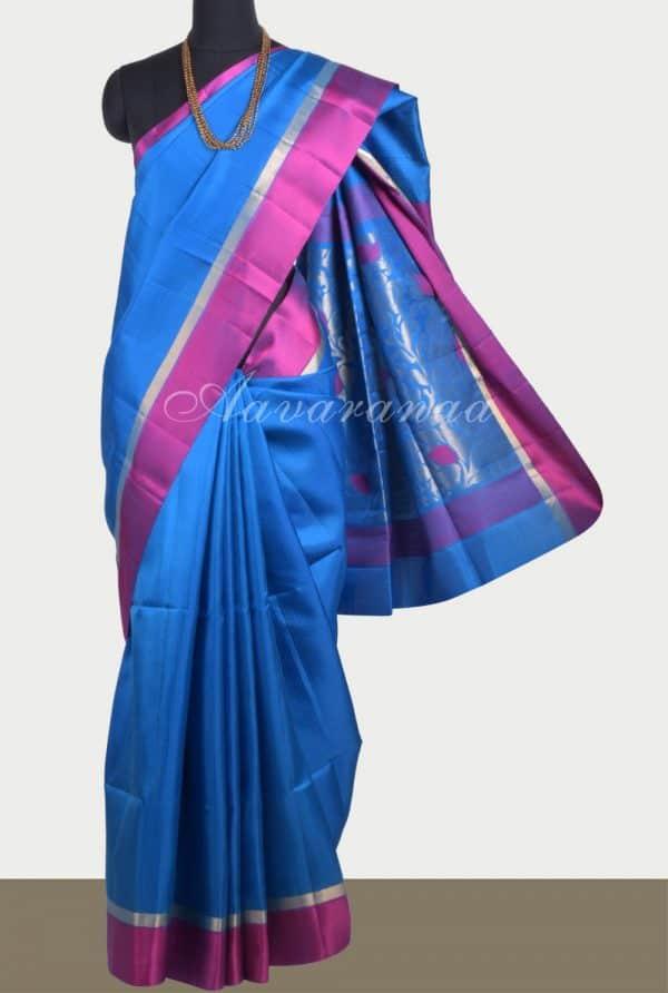 Blue soft silk saree with purple border-0
