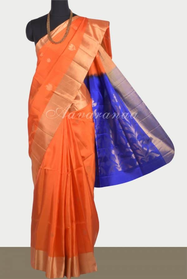 Orange soft silk saree with blue pallu-0