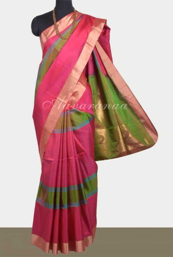 Pink silk saree with coloured stripes-0