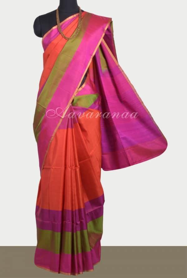 Plain orange silk saree with multicolour border -0