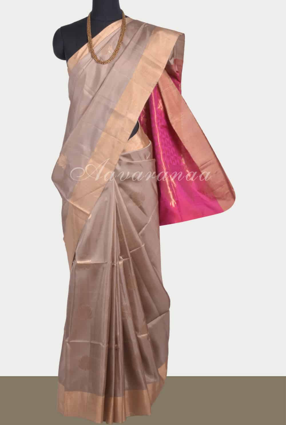 271395d2223 Saree Beige soft silk saree with contrast pallu Sale Online Shopping