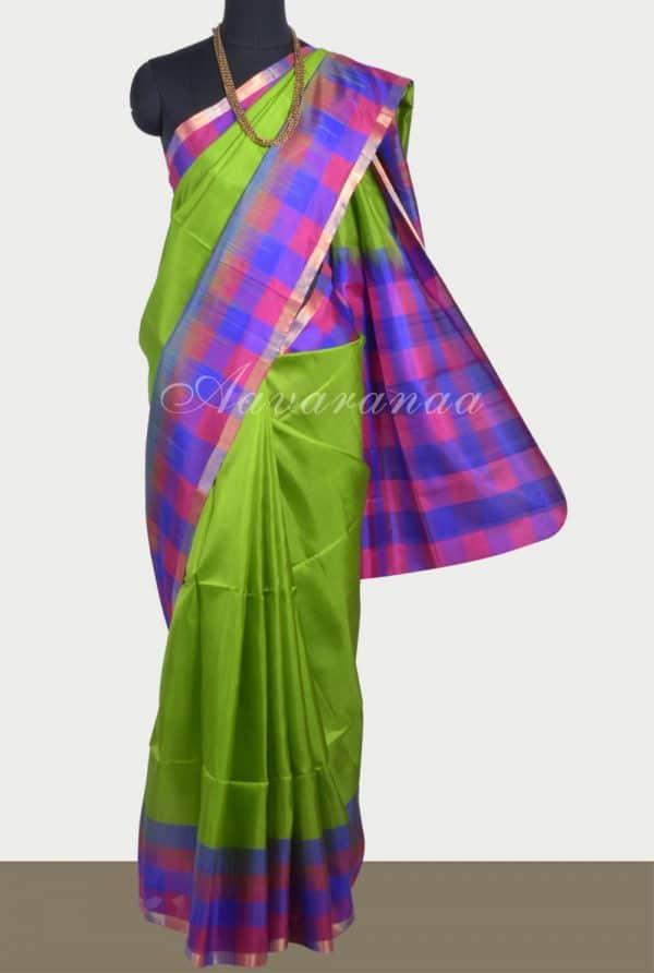 Green soft silk saree with checks border-0