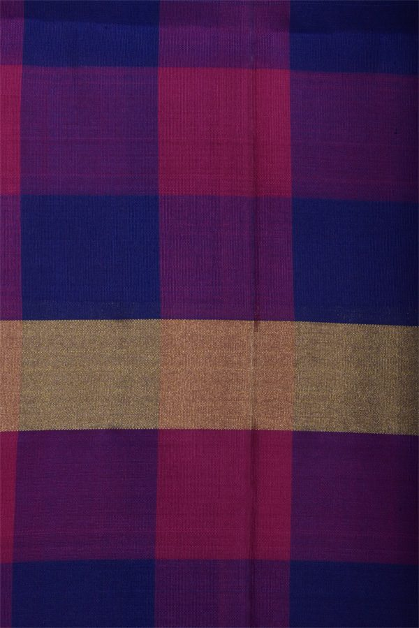 Blue soft silk saree with checks border-13002