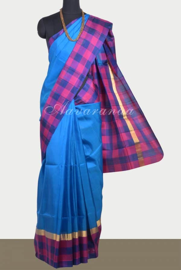 Blue soft silk saree with checks border-0