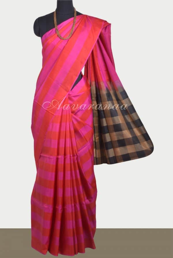 Pink and red stripes silk saree-0