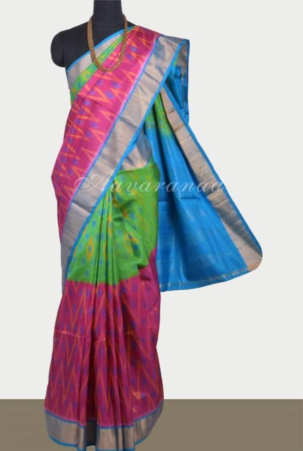 Green pink ikat weave silk saree-0