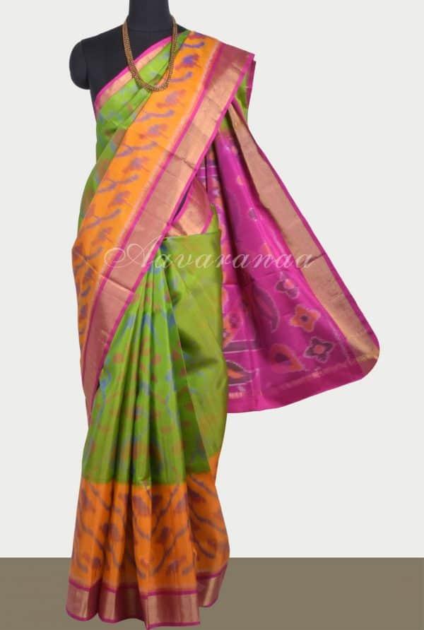 Green mustard ikat weave silk saree-0
