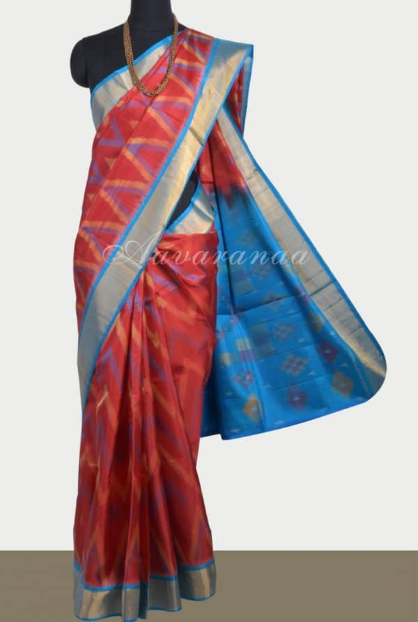 Red silk saree with ikat weave-0