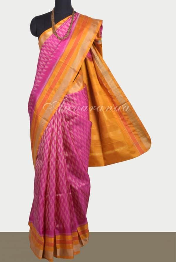 Pinkikat style silk saree with yellow border-0