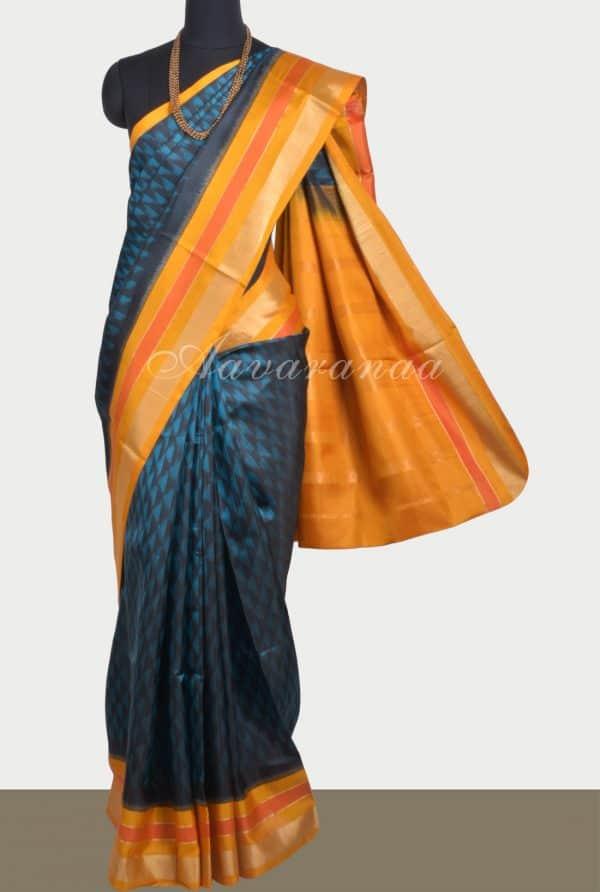 Blue blackikat style silk saree with yellow border-0