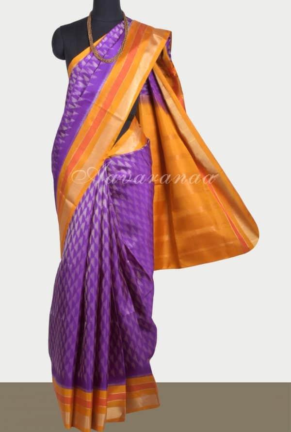 Violet ikat style silk saree with yellow border-0