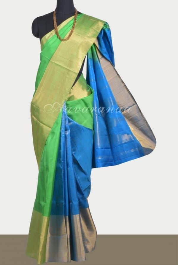 Blue green partly pallu silk saree-0