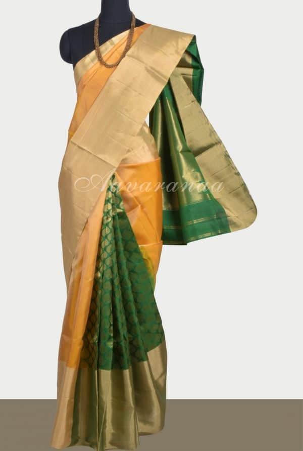 Yellowgreen partly pallu silk saree-0