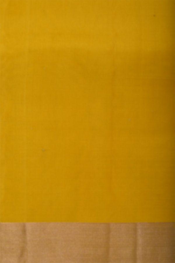 Plain yellow silk saree with long border-13107