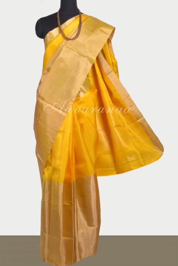 Plain yellow silk saree with long border-0