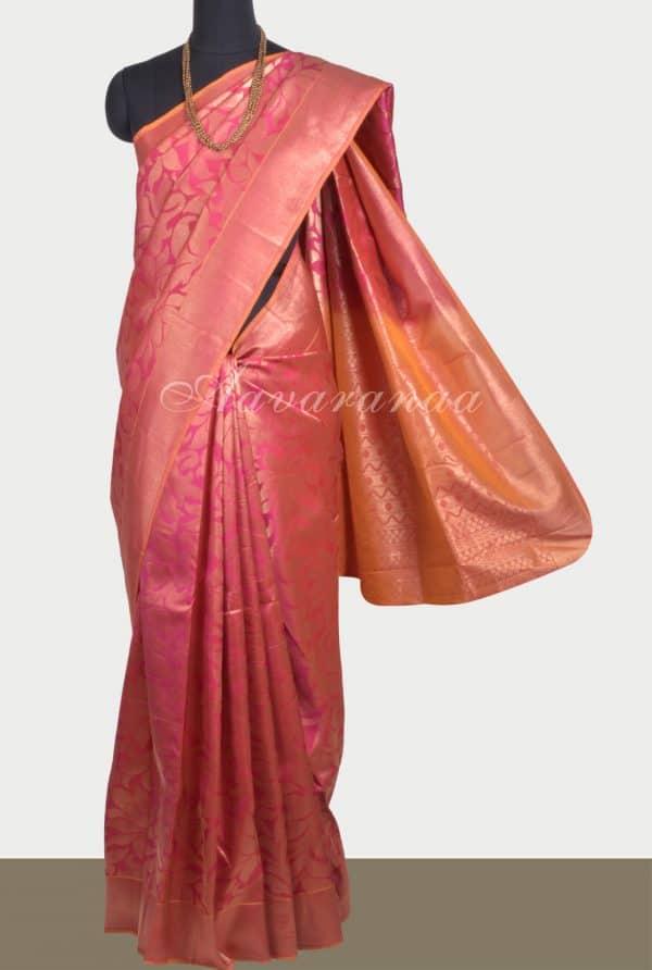 Pink floral zari soft silk saree-0