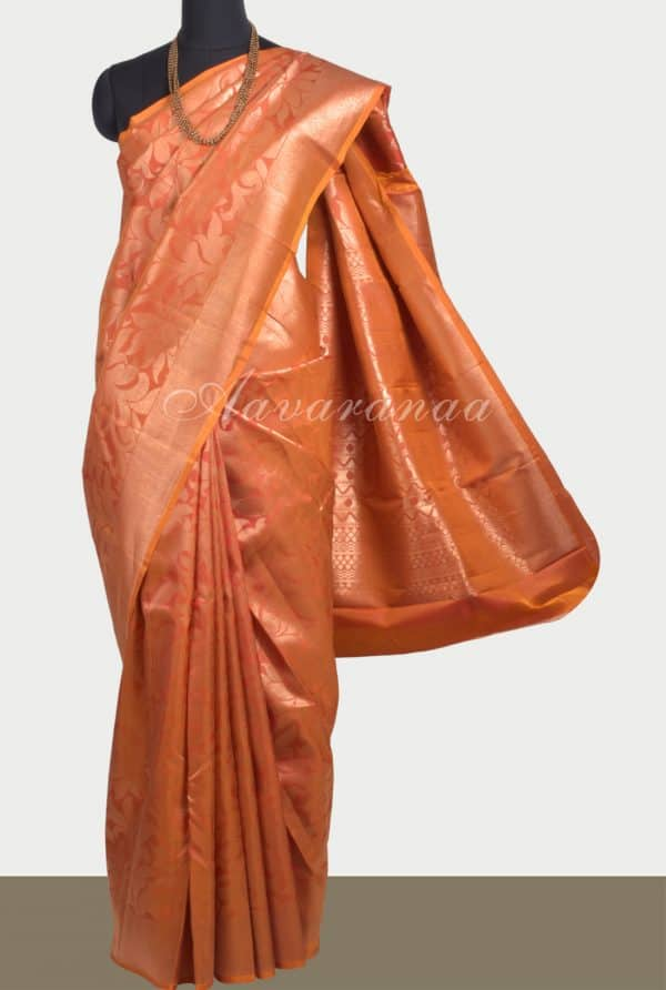 Orange floral zari soft silk saree-0