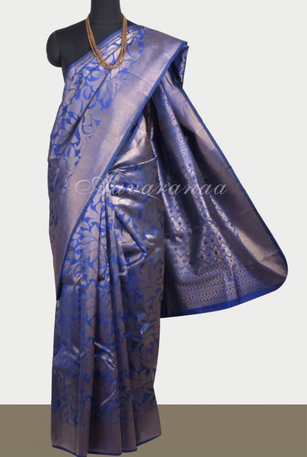 Royal blue floral zari soft silk saree-0
