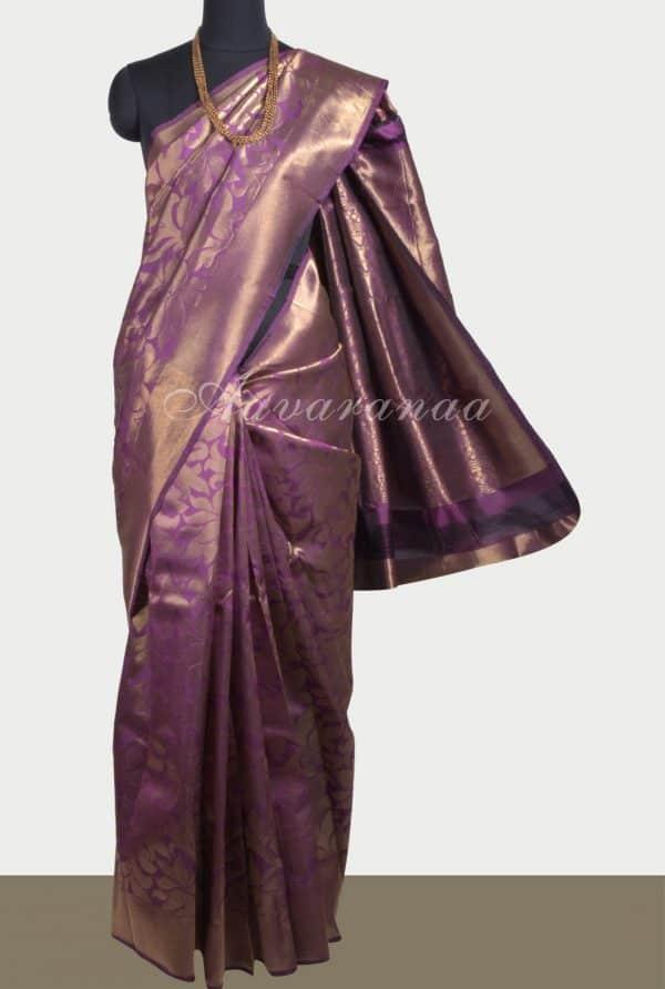 Deep mauve floral zari soft silk saree-0
