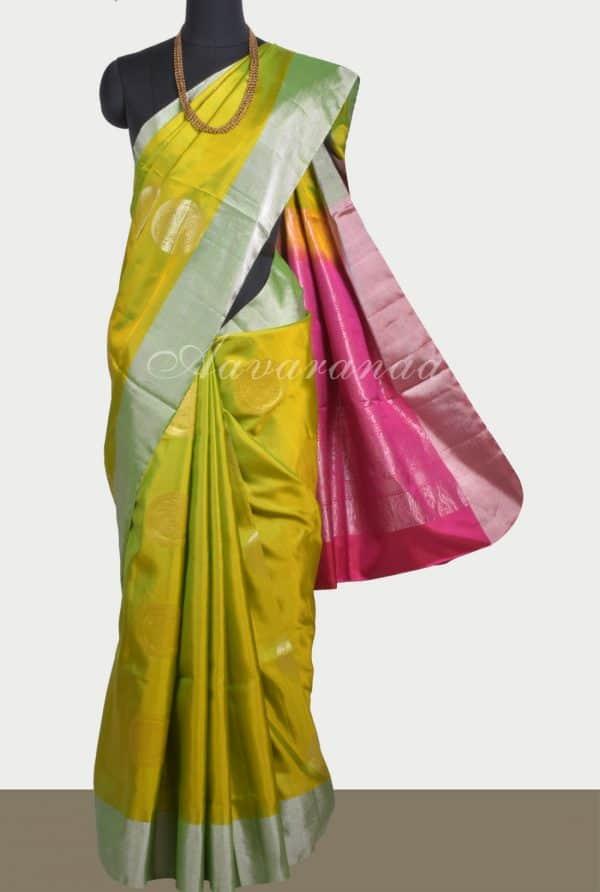 Lime green soft silk saree with silver zari-0
