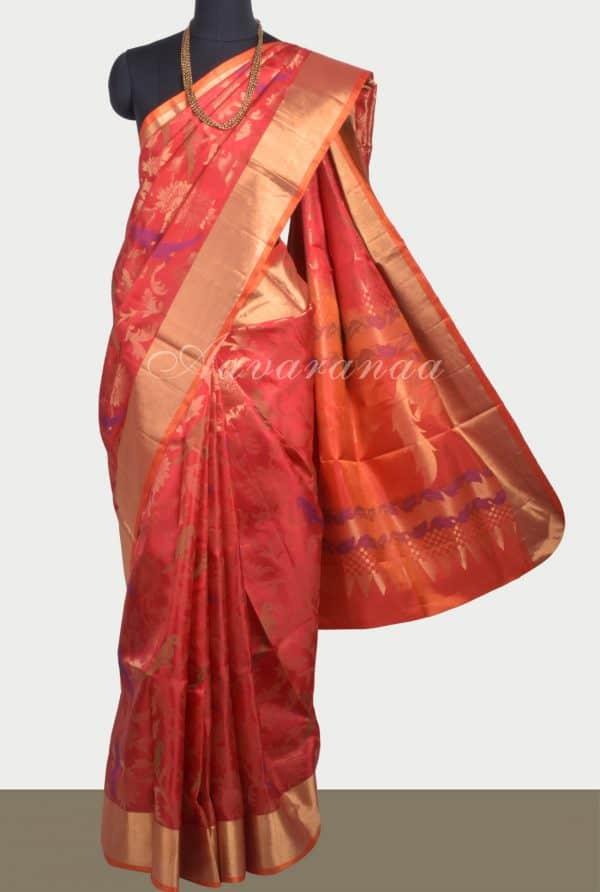 Bright Red soft silk brocade saree-0