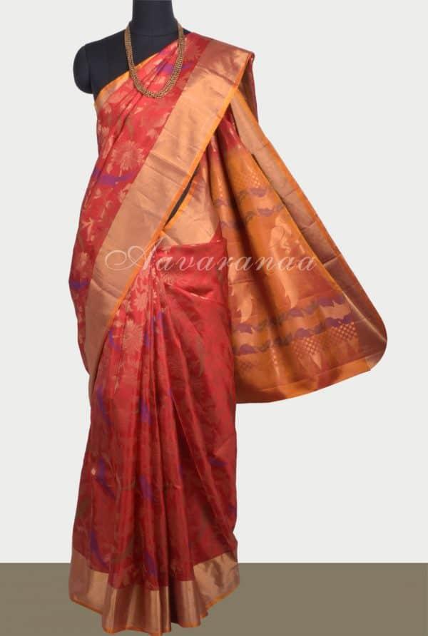 Red soft silk brocade saree-0