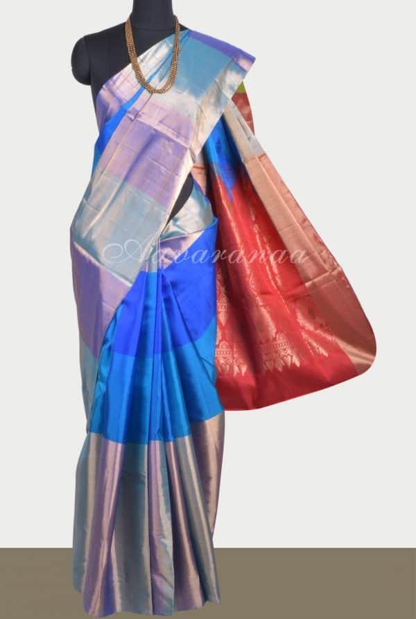 Multi blue soft silk saree-0