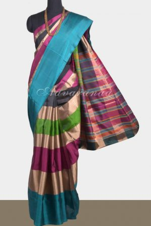 Multicolour zari patti soft silk saree-0