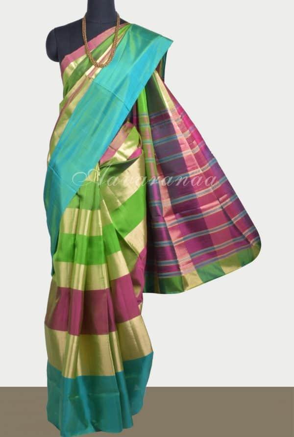 Multicolour green zari patti soft silk saree-0