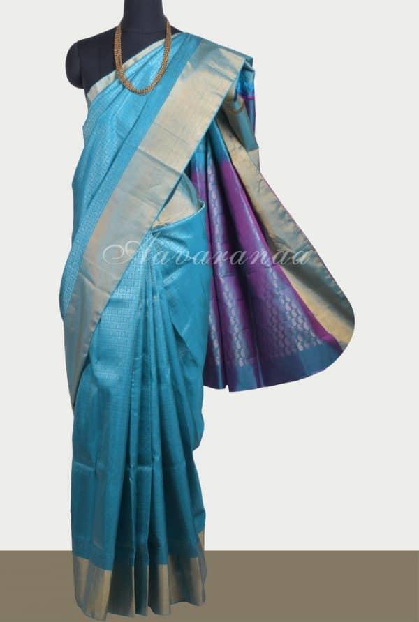 Blue zaribrocade soft silk saree -0