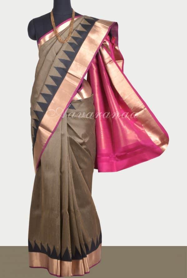 Beigethread temple soft silk saree-0