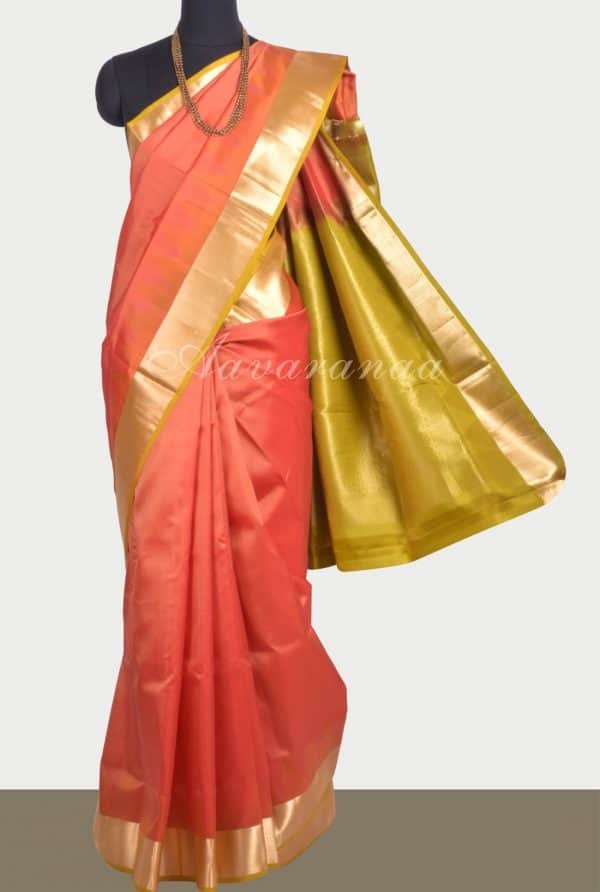 Orange thread temple soft silk saree-0