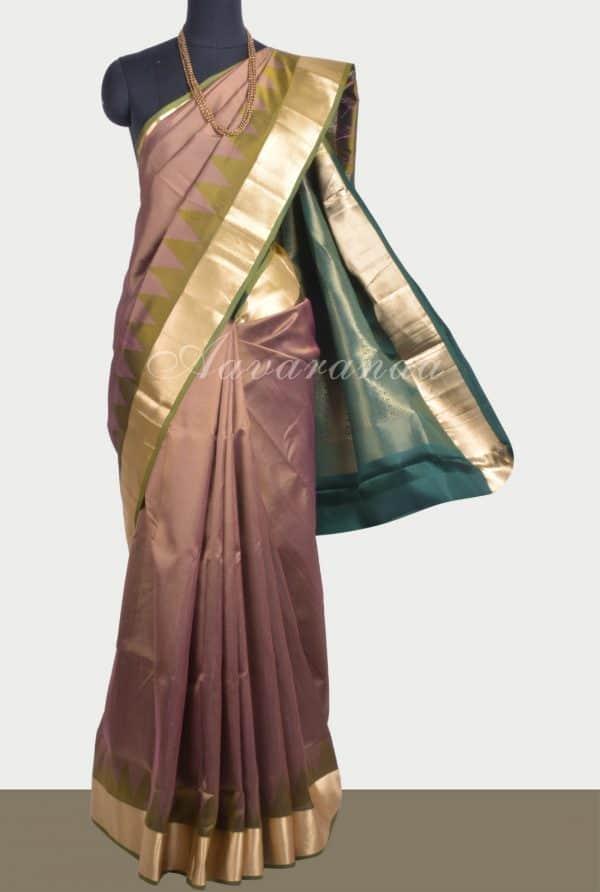 olive green thread temple soft silk saree-0