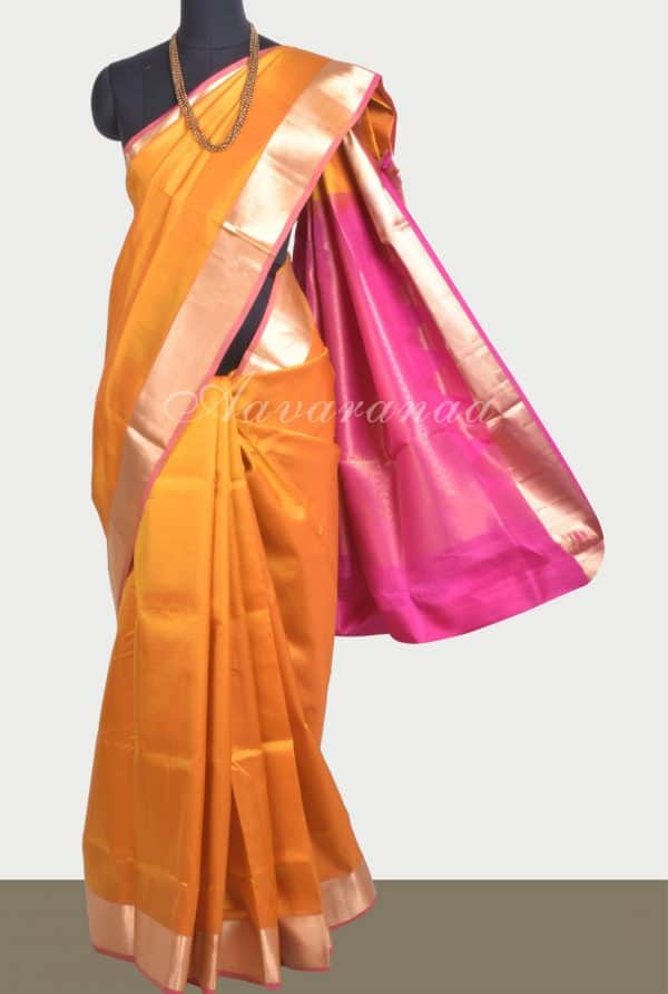 Plain mustard silk saree with contrast pallu-0