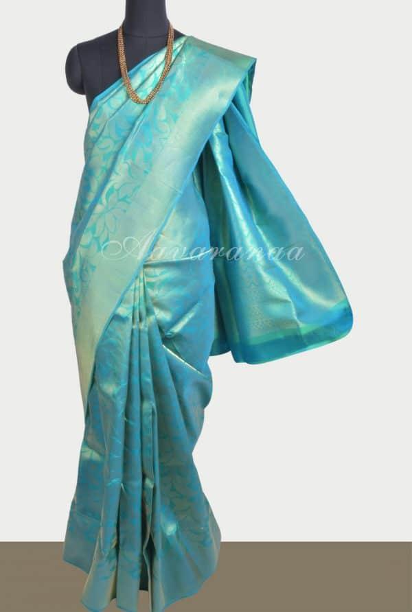 Tealblue floral zari soft silk saree-0