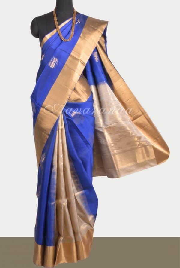 Royal blue beige party pallu silk saree-0