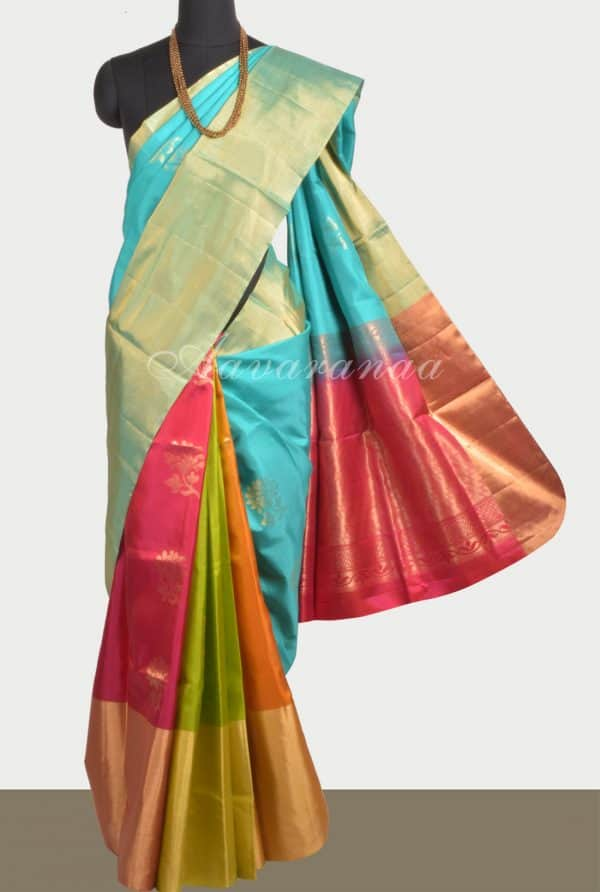 Teal multicolour partly pallu silk saree-0